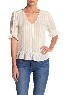 Lucky Brand V-Neck Tonal Striped Blouse