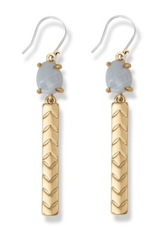 Lucky Brand White Agate Stone & Bar Drop Earrings