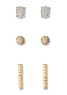 Lucky Brand White Agate Stud Earrings Set