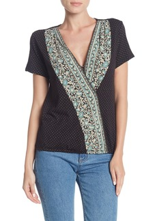 Lucky Brand Wildflower Surplice Neck Top