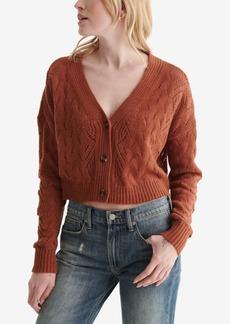 Lucky Brand Women's Lace-Knit Cropped V-Neck Cardigan