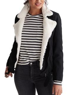 Women's Lucky Brand Faux Fur Lined Moto Trucker Jacket
