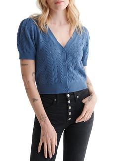 Women's Lucky Brand Pointelle Short Sleeve Crop Cardigan