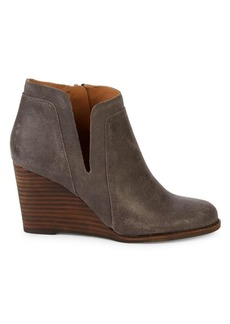 Lucky Brand Yabba Leather Stacked Wedge Booties