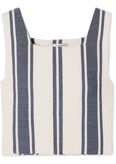 Lucy Castellations Cropped Striped Cotton-blend Top