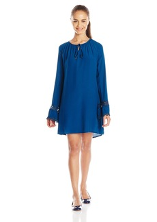 Lucy Love Junior's Leah Long Sleeve Peasant Shift Dress with Lace Detail