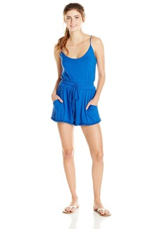 Lucy Love Junior's Riley Sleeveless Knit Romper with Pom Pom Trim
