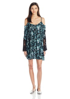 Lucy Love Women's Cold Shoulder Lace Sleeve Dress