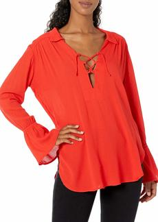 Lucy Love Women's Lace Up Casanova Belted Top