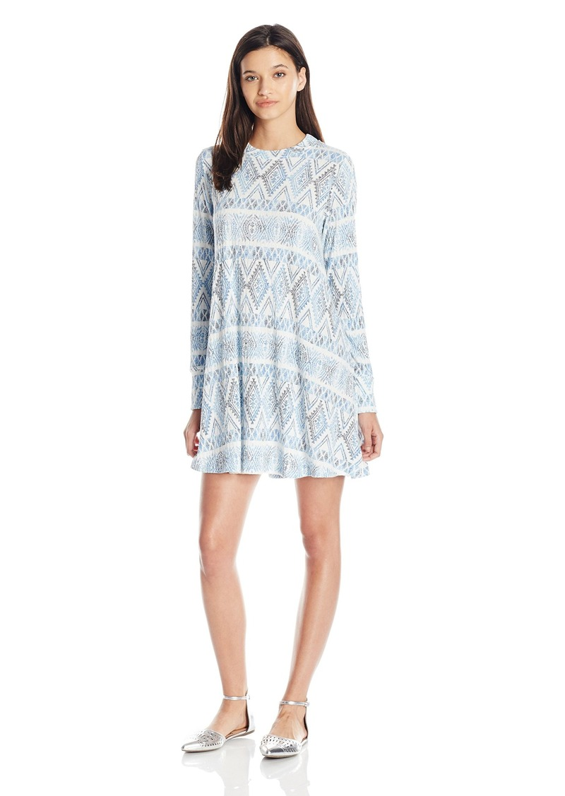 Lucy Love Women's Max Chill Sweater Knit Printed Long Sleeve Swing Dress
