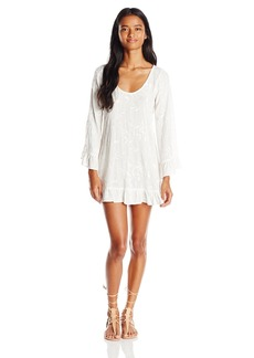 Lucy Love Women's Mayfair Embroidered Gauze Tunic Bell Sleeve Dress  Small