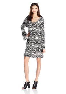 Lucy Love Women's Montage Printed Bell Sleeve Dress