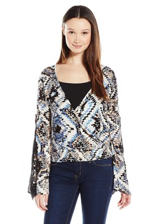 Lucy Love Women's Nikki Long Croptop with Lace Trim Sleeve