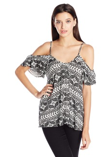 Lucy Love Women's Printed Hollie Cold Shoulder Top