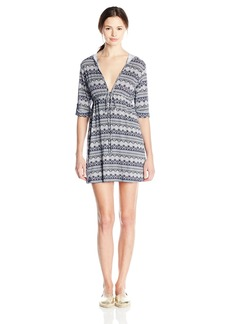 Lucy Love Women's Printed Roll Tab Sleeve Resort Dress