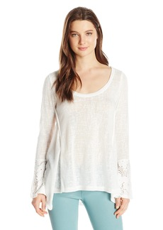 Lucy Love Women's Ray Ann Long Sleeve Lace Trim Top  Small