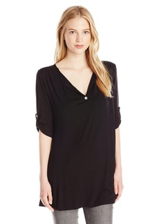 Lucy Love Women's Roll Tab Sleeve Swing Tunic Top