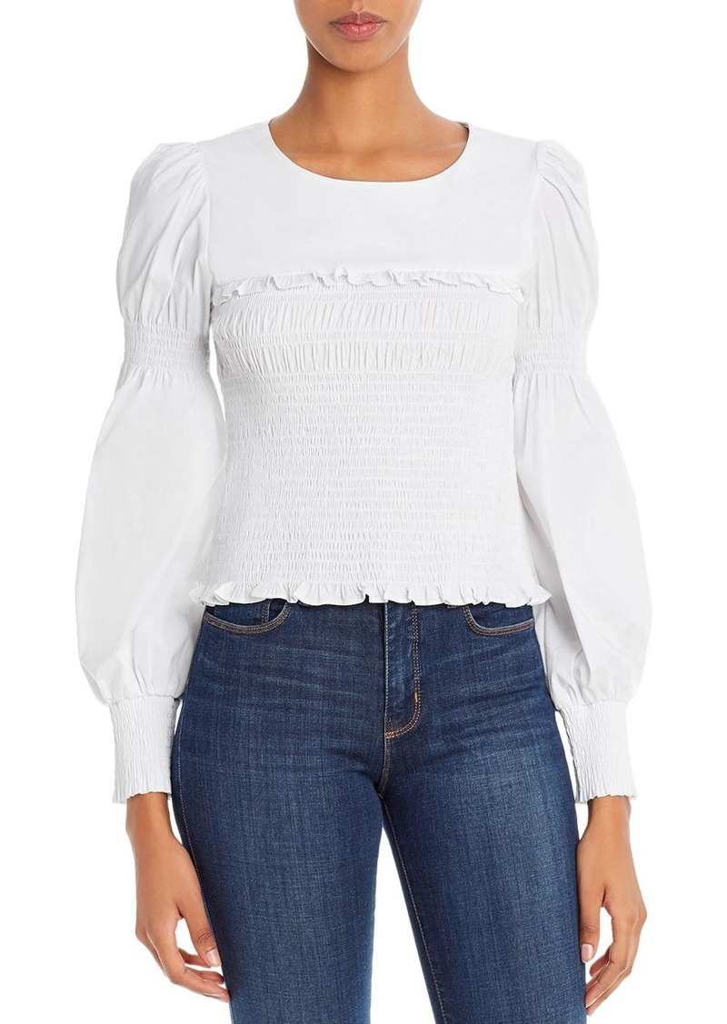 Lucy Paris Balloon-Sleeve Smocked Top