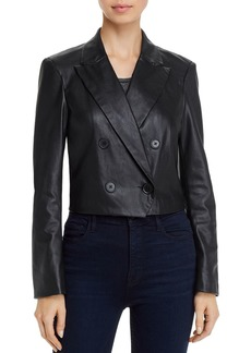 Lucy Paris Cropped Faux-Leather Blazer - 100% Exclusive