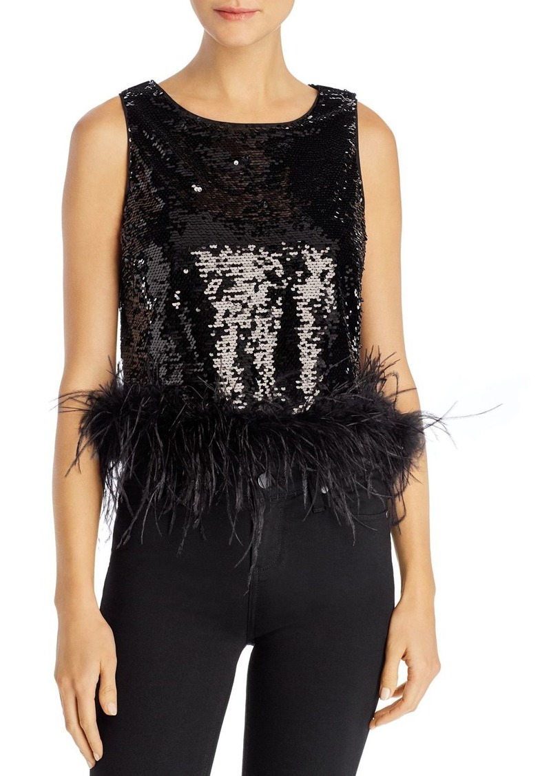 Lucy Paris Faux-Feather Hem Sequined Top - 100% Exclusive
