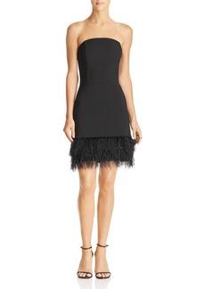 Lucy Paris Faux-Feather Hem Strapless Dress