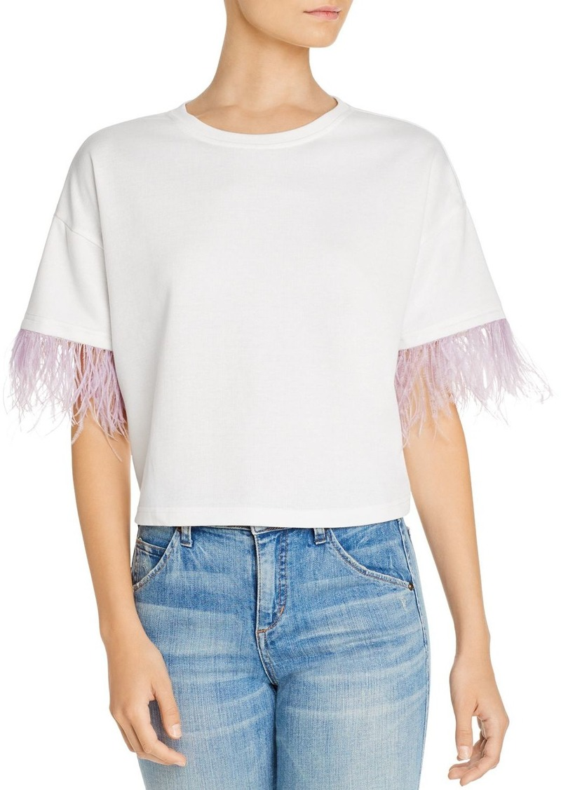 Lucy Paris Faux-Feather Trim Tee