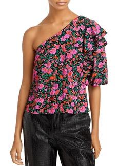 Lucy Paris Floral Print One Shoulder Top