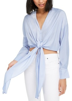 Lucy Paris Gloria Cropped Tie-Hem Shirt