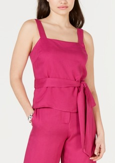 Lucy Paris Grace Belted Square-Neck Top