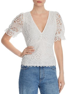 Lucy Paris Jasmine Puff-Sleeve Lace Top