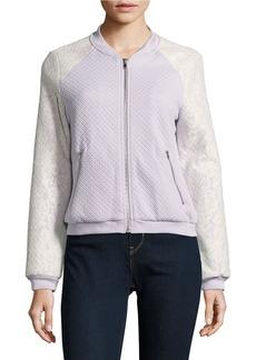 LUCY PARIS Lace Accented Raglan Varsity Jacket