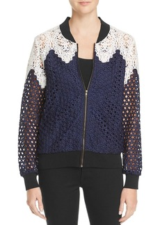 Lucy Paris Lace Paneled Bomber Jacket - 100% Exclusive