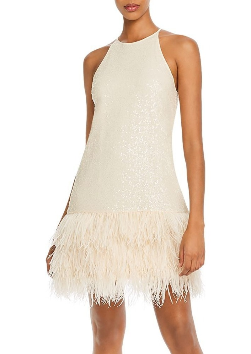 Lucy Paris Margo Faux-Feather Trim Sequined Dress - 100% Exclusive