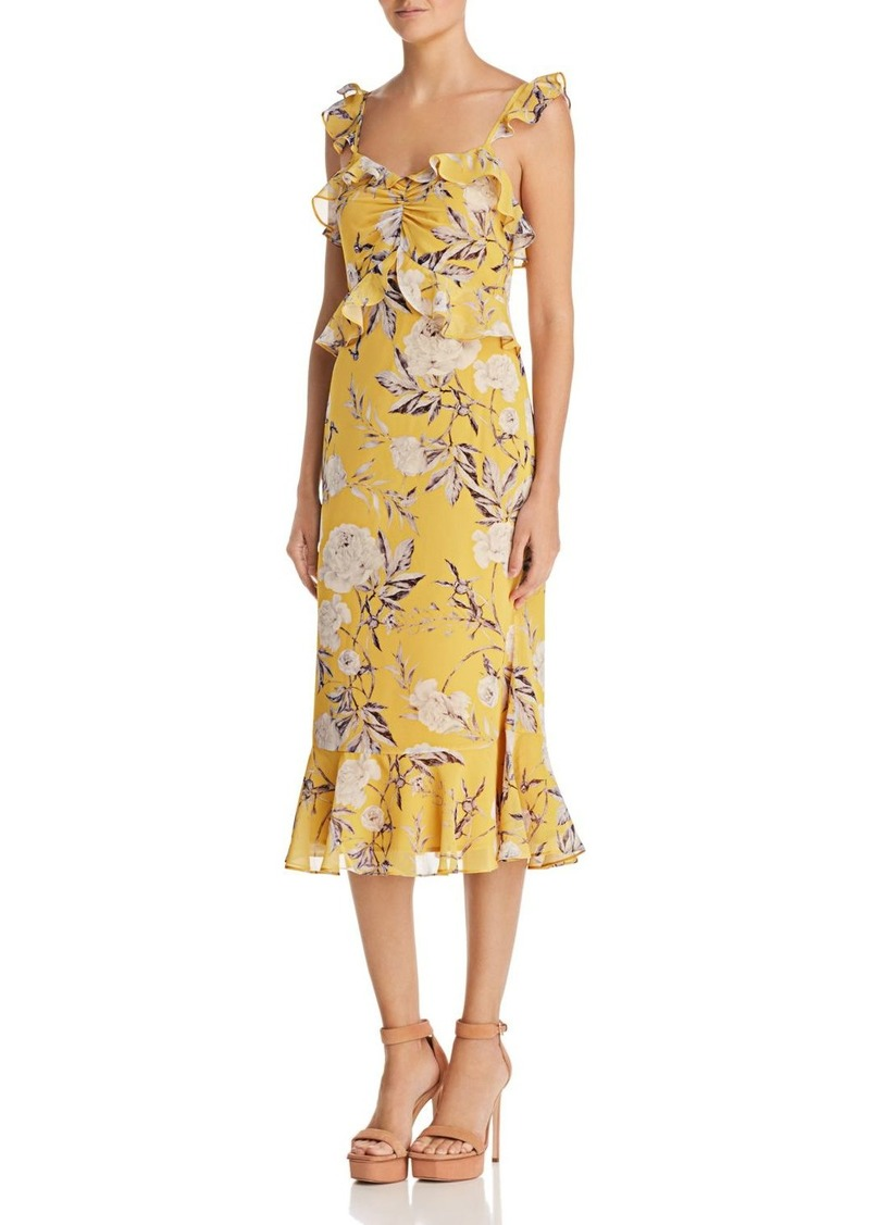 Lucy Paris Marissa Ruffled Floral Midi Dress