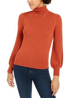 Lucy Paris Mock-Neck Balloon-Sleeve Sweater