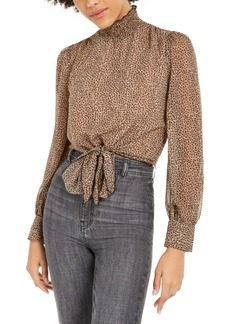 Lucy Paris Mock-Neck Tie-Hem Top