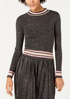 Lucy Paris Nicole Striped-Trim Metallic Sweater