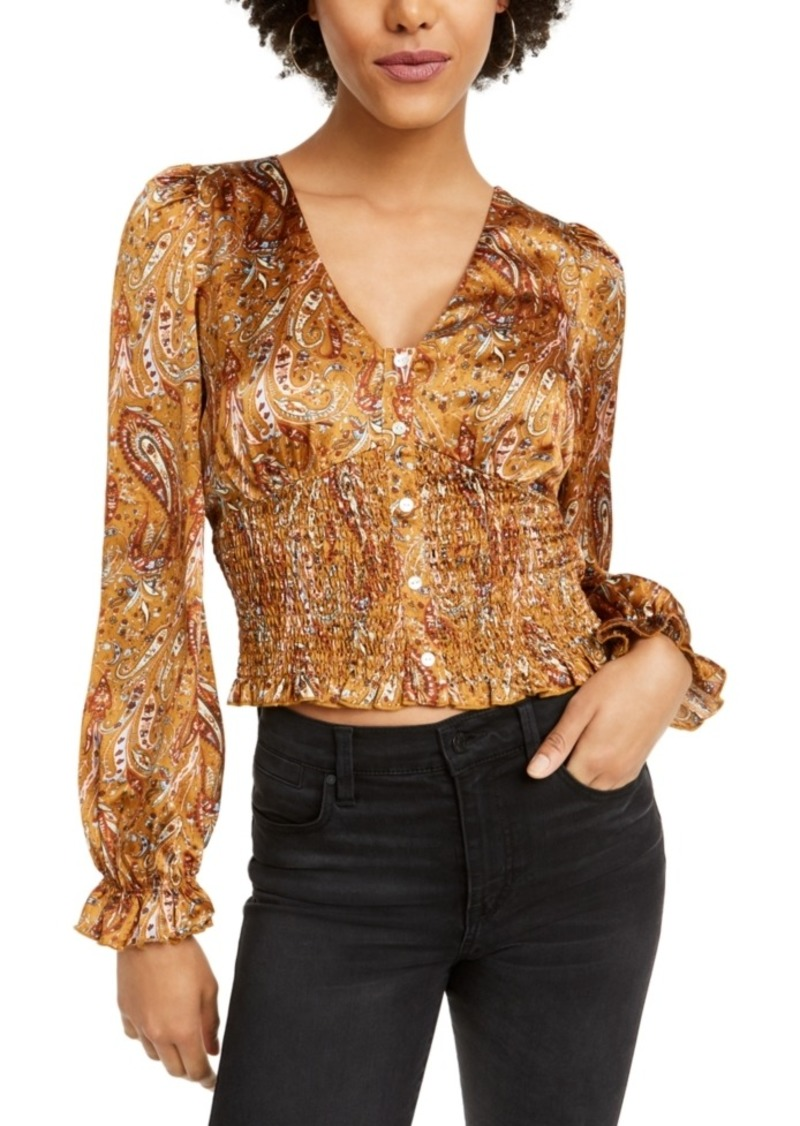 Lucy Paris Paisley Smocked Cropped Top