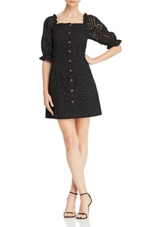 Lucy Paris Puff-Sleeve Eyelet Dress