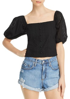 Lucy Paris Puff-Sleeve Eyelet Top