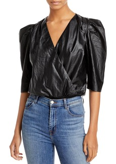 Lucy Paris Puff Sleeve Faux Leather Bodysuit