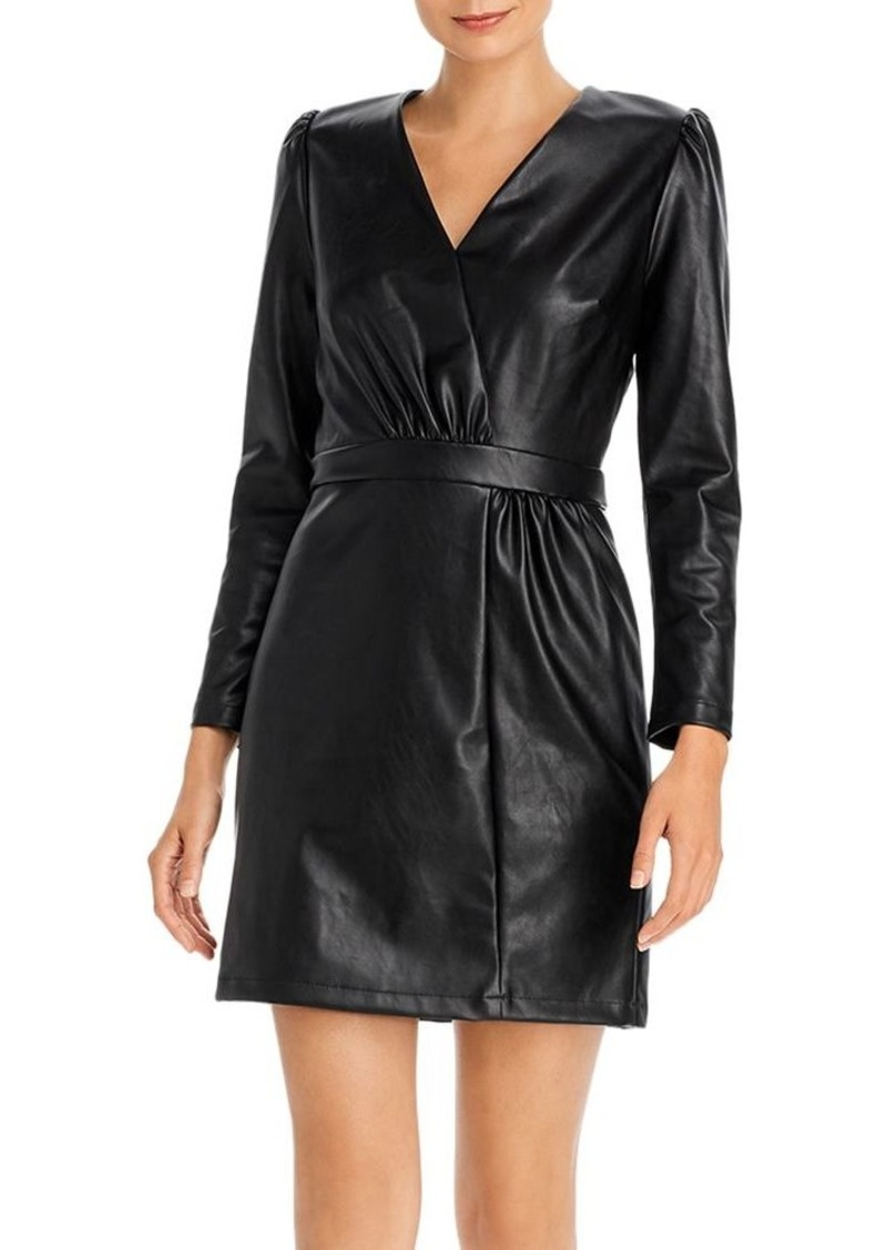 Lucy Paris Puff-Sleeve Faux Leather Dress - 100% Exclusive
