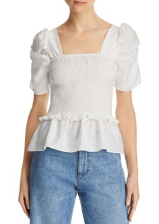 Lucy Paris Puff-Sleeve Smocked Top