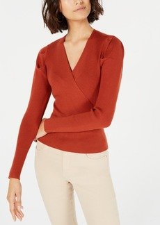Lucy Paris Puffed-Shoulder Surplice Sweater