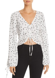 Lucy Paris Ruched Drawstring Polka Dot Top - 100% Exclusive