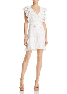 Lucy Paris Ruffled Lace Faux-Wrap Dress