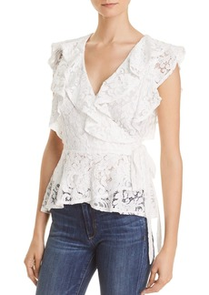 Lucy Paris Ruffled Lace Wrap Top