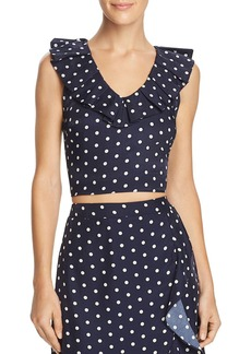 Lucy Paris Ruffled Polka Dot Cropped Top