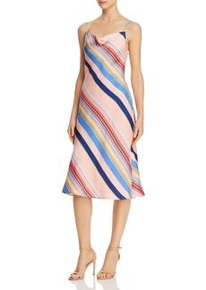 Lucy Paris Siena Rainbow-Stripe Slip Dress