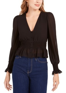 Lucy Paris Smocked V-Neck Top